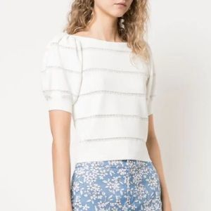 NWT Alice + Olivia Lavona Lace Inset Sweater White